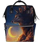 Mummy Backpack Galaxy Wolf Moon Unisex Dad Travel Cremallera De Pañales De Gran Capacidad Mochila Multifunción Bolsas De Bebé Casuales Mochilas Mamá 28X18X40Cm