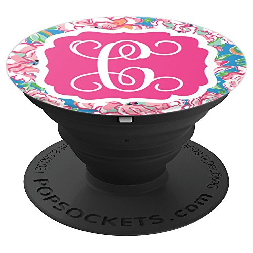 Personalized Pop Socket C Initial - Hot Pink Charm Flowers PopSockets Grip and Stand for Phones and Tablets