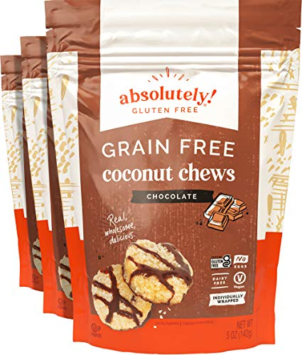 Absolutely Gluten Free Raw Coconut Chews with Chocolate & Cocoa nibs, Individually Wrapped, 5OZ (3 Pack)
