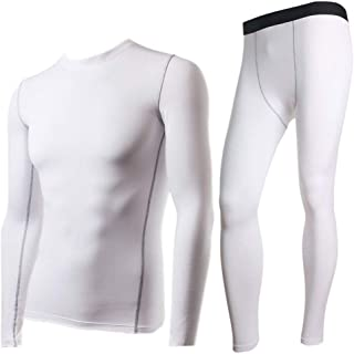 Jinqiuyuan Winter Thermal Underwear Sets Men Quick Dry Stretch Men's Thermo Underwear Male Warm Long Johns Fitness (Color : Ivory, Size : M)