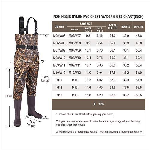 Size Chart for HISEA Waterproof Fishing Chest Waders for Women and Men