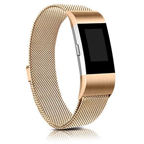Demark Kompatibel für Fitbit Charge 2 Armband, Edelstahl Magnetschloss Ersatzarmbänder Kompatibel für Fitbit Charge 2, Männer Frauen (Roségold, Small)