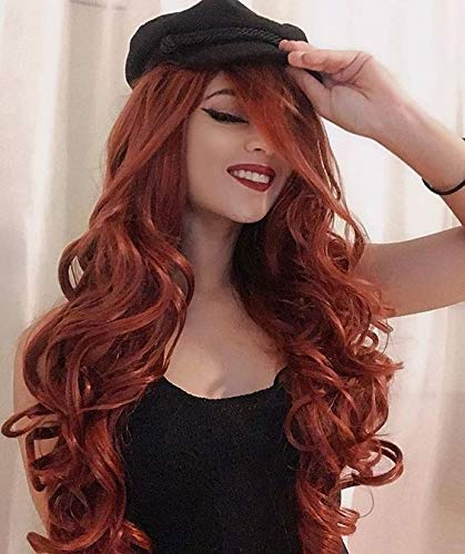 Alimice Long Wavy Auburn Wig Curly Ginger Wigs Synthetic Fox Red Ladies Wig Dark Orange Curly Wavy Hair Women's Heat Resistant Copper Red Hair Cosplay Replacement Full Wigs