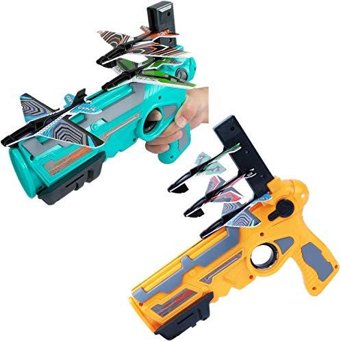 HuangHuang Avión de espuma de catapulta de juguete, juguete de deportes al aire libre, 4 lanzadores de pistola Gyro lanzadores de mano (amarillo+azul)