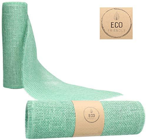 AmaCasa Eco Camino de Mesa de Yute de 30cm de Ancho, Rollo de 5m | Cinta de Mesa para Decoraciones maravillosas (Eucalipto Verde, 30cm/5m)