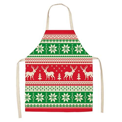 Hinzonek - Grembiule da donna in cotone e lino, motivo natalizio con renna, per cucina, vacanze, feste e cosplay
