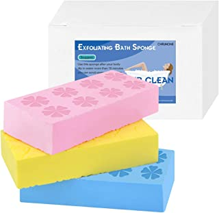 3 pcs Exfoliating Bath Sponge, Asian Bath Sponge for Shower, Korean Moisturizer and Exfoliator Body Sponge, Japanese Spa Cellulite Massager Dead Skin Sponge Remover for Body