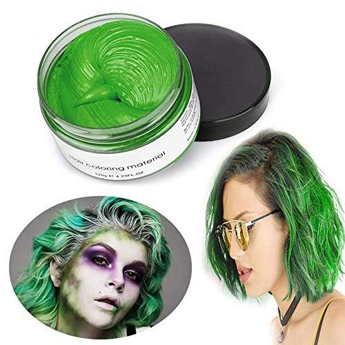 Haarwachs Temporäres Haarfarbe Wachs, Unisex Haarfärbemittel Wachs, Waschbares Pflanzenformel Mattes Natürliches Buntes Haarwachs (120g Grün)