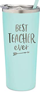 SassyCups Best Teacher Ever Tumbler   22 Ounce Engraved Mint Stainless Steel Insulated Tumbler with Lid and Straw   Teache...