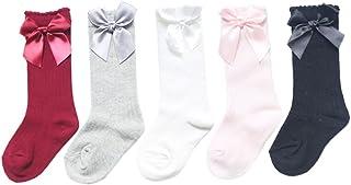 XPXGMT, 5 Pares Arco Algodón Calcetines Largos para Bebé Niñas 0-4 años