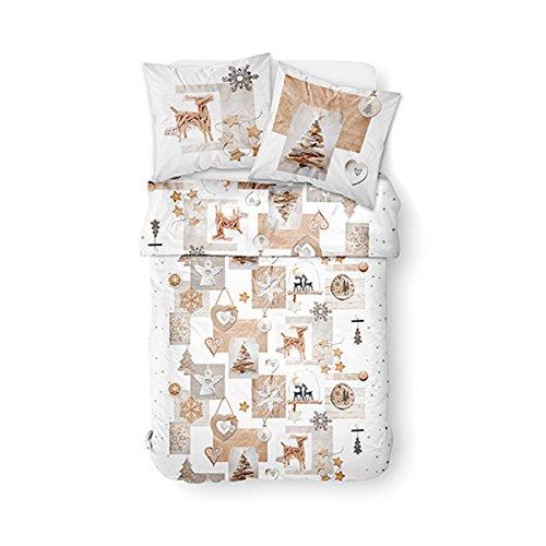TODAY Enjoy Snow Deer-Parure HC3 : Housse de Couette 220x240 + 2 Taies d'Oreiller 100% Coton, 57 Fils, Blanc, Beige, 220x240 cm
