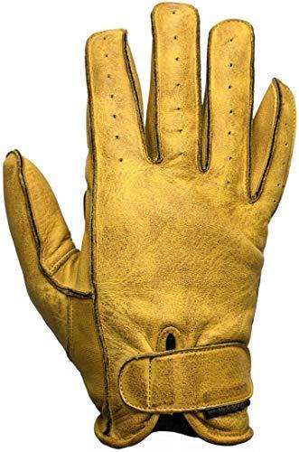 Helstons Motorradhandschuhe Hiro Sommer Leder Soft Gold-Schwarz, Schwarz/Gold, T11