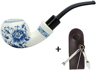 LUCKFY Fumar en Pipa de Tabaco tuberías Azules Chinos y Blanco de Porcelana Hechas a Mano de cerámica Curva Tubo Hueco de diseño con 3 en 1 raspador,Handmade