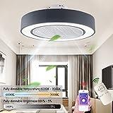 Deckenventilator Mit Beleuchtung LED Fan Deckenleuchte, Dimmbar Mit Fernbedienung, Einstellbare Windgeschwindigkeit, 72W Moderne Kreative Ultra-Leise Wohnzimmer Schlafzimmer Fan Lampe (Ø55CM),Schwarz