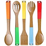 LOVE PAN 5 Piece Bamboo Cooking Utensils Wooden Spoons with Colored Handles