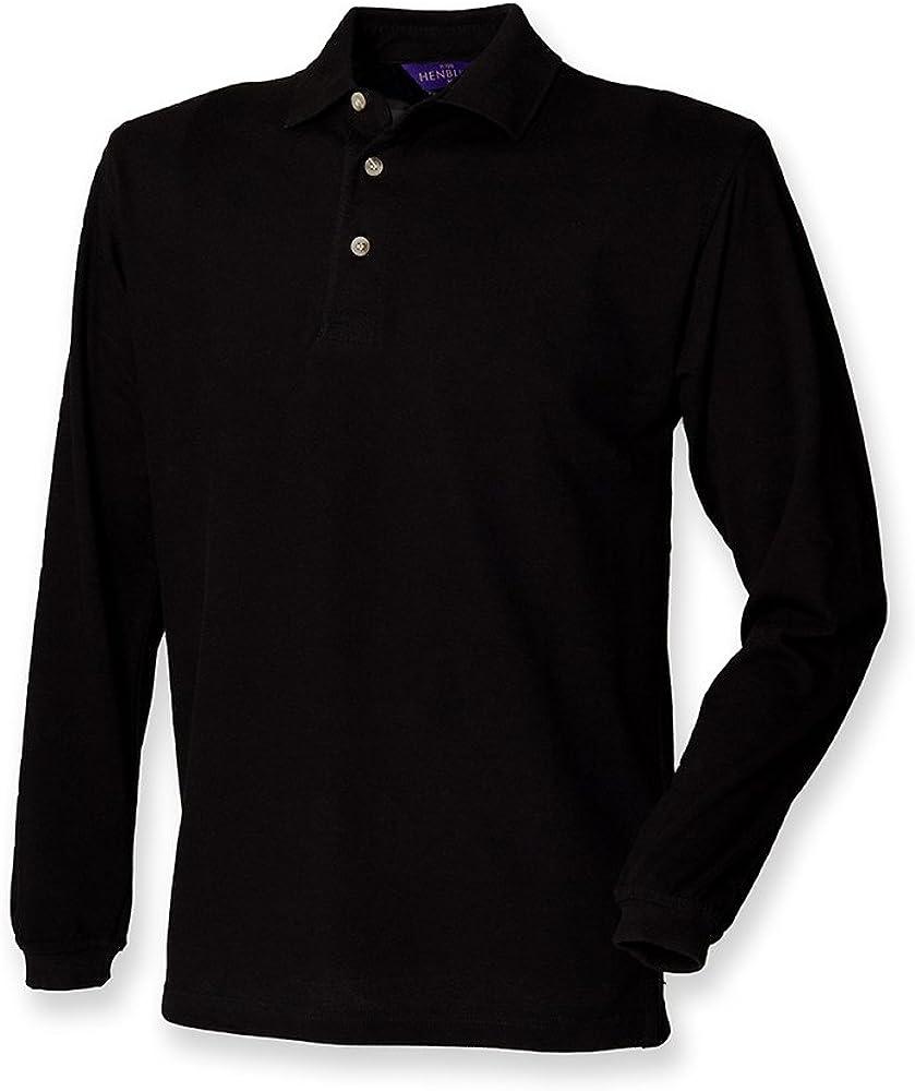 Henbury Men's Classic Heavy Pique Long Sleeve Polo Shirt