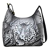 Anna by Anuschka Leather Hobo Shoulder Hand Painted Handbag Bag Large (African Leopard Side Pockets)