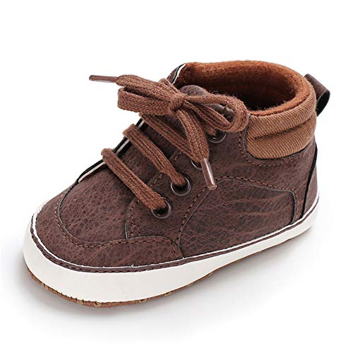 TIMATEGO Baby Boys Girls Shoes High Top Ankle Boots PU Leather Lace Up Non Slip Infant Toddler Sneaker First Walker Crib Shoes 3-18 Months, Baby Shoes 3-6 Months Infant, 09 Brown