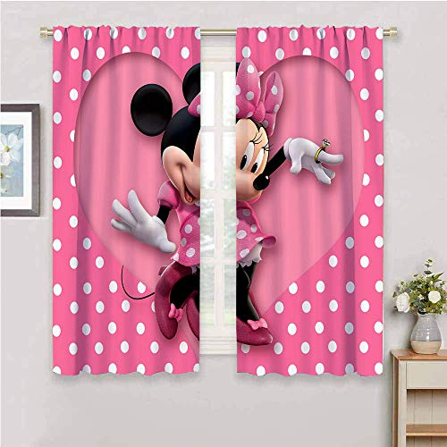 DIMICA Soundproof Curtains for Bedroom Mickey Minnie Mouse W52 x L84 Inch Print Bedroom Decor Blackout Shades Rod Pocket curtian