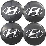HAZYLA 4 Piezas 56.5mm Car Tapas Centrales Llantas para Hyundai Solaris ix35 i20 i30 i40 Tucson Creta Santa,Tapacubos Decoración con Forma de Coche Resistente al Agua y al óxido con Logotipo de Placa