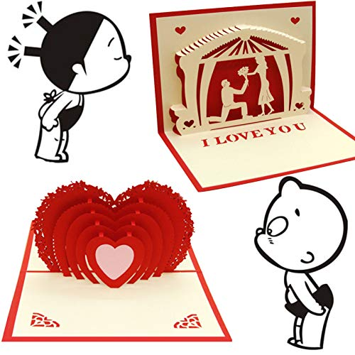 sdfa I Love You - Handmade 3D Pop Up Card, 2pcs Valentine's Day Pop Up Cards 3D, Anniversary Card, Red Heart Pop Up Wedding Greeting Card