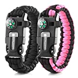 X-Plore Gear Emergency Paracord Bracelets | Set of 2| The Ultimate Tactical Survival Gear| Flint Fire Starter, Whistle, Compass & Scraper | Best Wilderness Survival-Kit - Black(M)/Pink(M)
