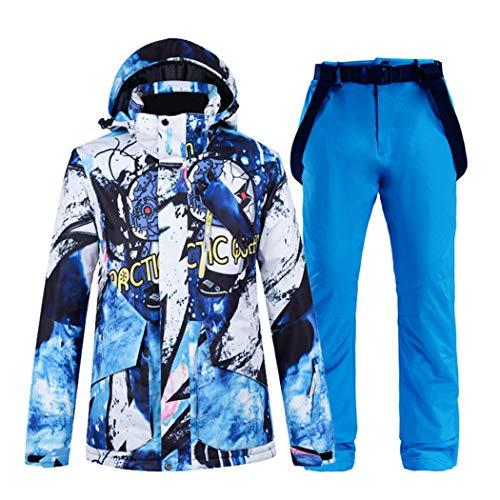 Azastar Skianzug Herren Super Warm Winter Wasserdicht Winddicht Skifahren Snowboard Jacke und Hose Sets Warmer Schneeanzug