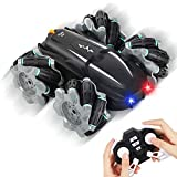 Auney Remote Control Car, RC Cars Stunt Car Toy for Kids, Double Sided 360 Rotating & 180 Fliping 2.4GHz Racing Cars with Led Lights Toy Cars for Boys Girls (Black)