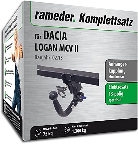 Rameder Set, Anhängerkupplung abnehmbar + 13pol Elektrik kompatibel für Dacia Logan MCV II (141234-11291-2)