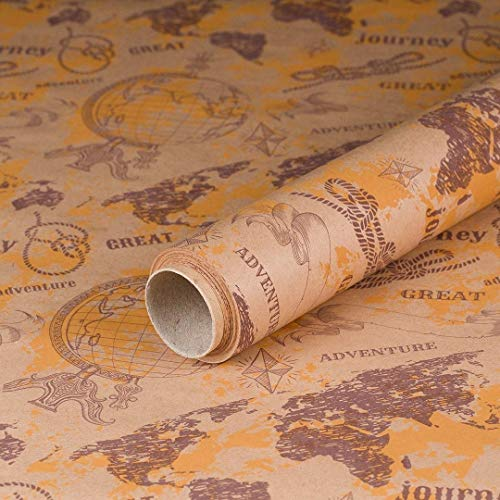 Geschenkpapier Abenteur Weltreise, Kraftpapier, glatt, 60 g/m²Geburtstagspapier, Vintage - 1 Rolle 0,7 x 10 m