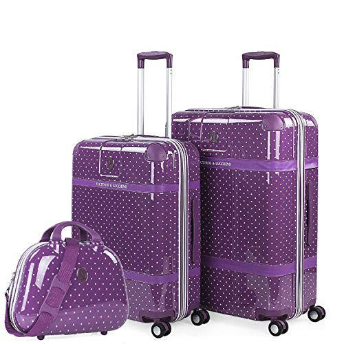VICTORIO & LUCCHINO - Set of 2 suitcases, and Beauty case Printed Polycarbonate. Rigid and Lightweight Telescopic Handle 2 Handles 4 Double Wheels. 80100B, Color Mauve