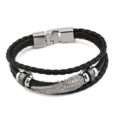 Vintage Mens Stainless Steel Genuine Leather Bracelet Bangle Black Braided Biker Angel Wing Men Bracelets