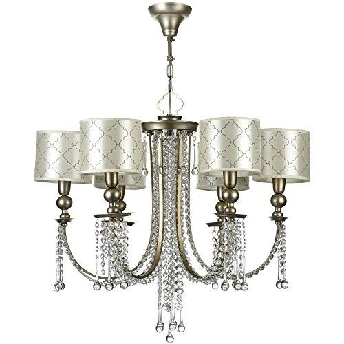 Klassischer Kronleuchter, Metallrahmen antik-silber, Kristallbehänge, Stoffschirm Art-Deco, 6-flammig, excl. 6 X E14 40W