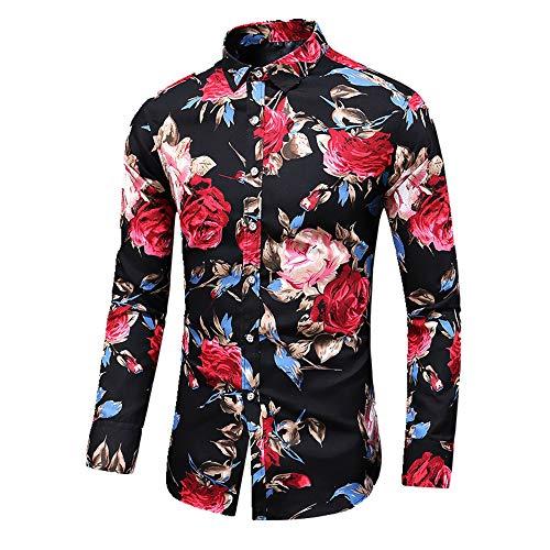 N\P Otoño de los Hombres Delgado de Impresión Floral de Manga Larga Camisas de Fiesta de Vacaciones Casual Vestido de Flor Camisa