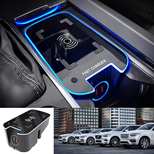 Premis 2021 Upgrade Wireless Car Charger Fit for Volvo XC90 XC60 S90 V90 V60 S60 QC3.0 Mirror Anti-slip Fast Charging with USB Port 36W QI Smart Phone Charging Pad