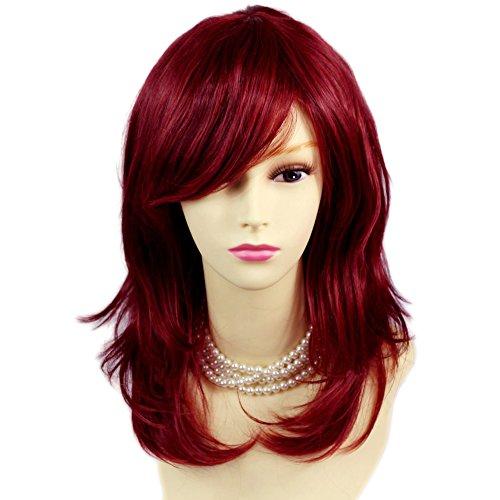 Gesichtsumrandende mittellange Damen Perücke mit Kopfhautimitat im burgunderrotem Gemisch mit gewellten Enden von WIWIGS UK