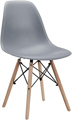CangLong Modern Mid-Century Shell Lounge Plastic DSW Natural Wooden Legs for Kitchen, Dining, Bedroom, Living Room Side Chairs, Set of 1, Grey