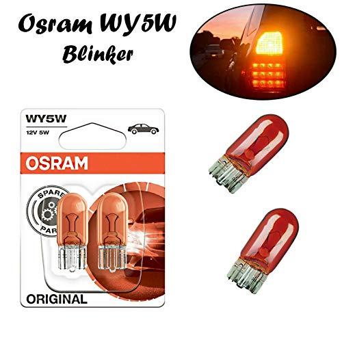 2x Osram Original WY5W 12V T10 W2.1x9x5d 2827-02B Orange Amber Ersatz Halogen Birne für Blinkleuchte - Blinker vorne Blinker hinten Blinker seitlich E-geprüft