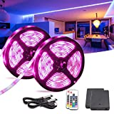 WOWLED Battery Powered LED Strip Light, 2 Pack 2m USB TV Back RGB Strips Rope Lighting with RF Remote...