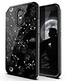PBRO LG Stylo 3 Case/LG Stylo 3 Plus Case/LG Stylus 3 Case,Cute Universe Constellation Case Dual Layer Soft Silicone & Hard Back Cover Heavy Duty PC+TPU Protective Shockproof Case for LG Stylo 3-Black