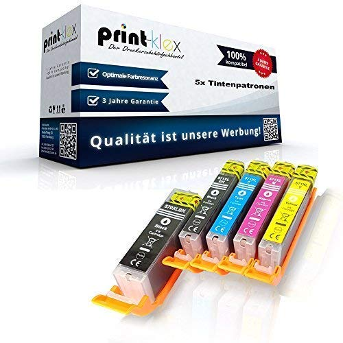 5X Print-Klex Tintenpatronen kompatibel für Canon Pixma TR7500 Series TR 7500 TR 8500 Series TR 8550 PGI 580 CLI 581 Pigment Black Black Cyan Magenta Yellow - Color Office Serie