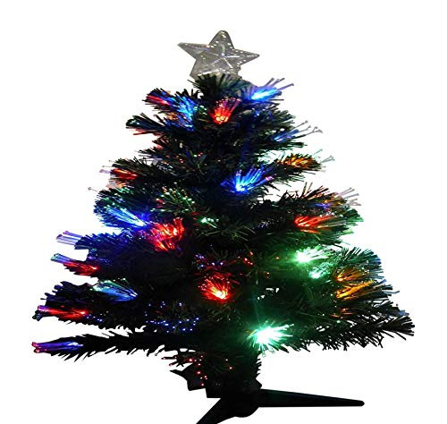 UK-Gardens 90cm 3ft Green Fibre Optic Christmas Tree Colour Changing With Multi-Coloured LED Lights & Star Topper