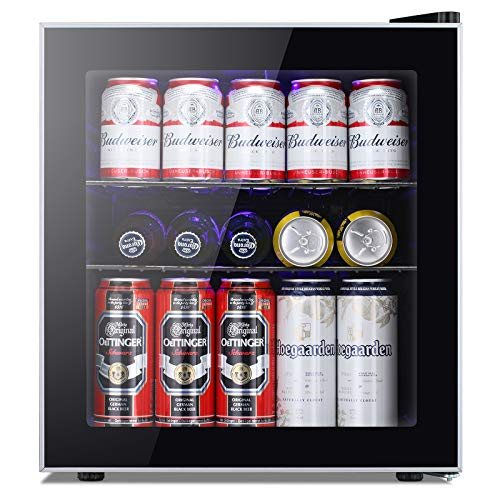 Kismile 1.6 Cu.ft Beverage Refrigerator and Cooler,60 Can Mini Fridge with Glass Door for Soda Beer or Wine,Small Drink Cooler Dispenser Counter Top Refrigerator for Home,Office,or Bar (Transparent)