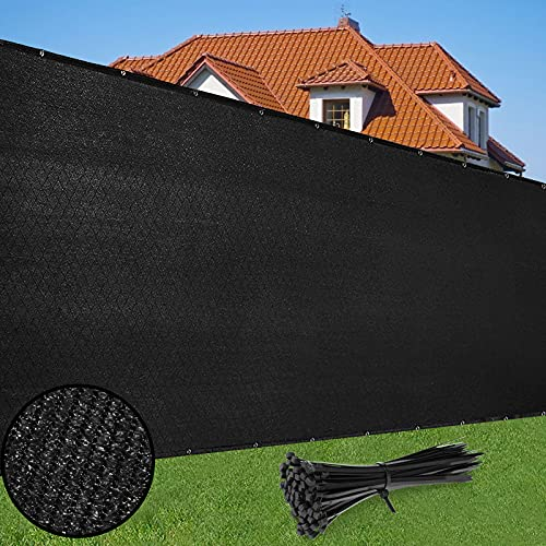 Duerer Malla de Ocultacion Jardin Negro 1.8m x 15.2m 142 g/m² Densidad HDPE Tela para UV Vallas De Jardin, Terraza, Balcón y Vallas