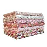 zerama 7pcs / Set la Tela de algodón para la, mezclaron la impresión Telas Florales para Patchwork álbum de Recortes de Tela de algodón (#2, 9.84 * 9.84(in))