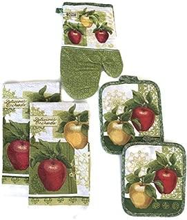 Golden & Red Apples Designer Kitchen Linen Bundle Oven Mitt (1) Towels (2) Pot Holders (2)