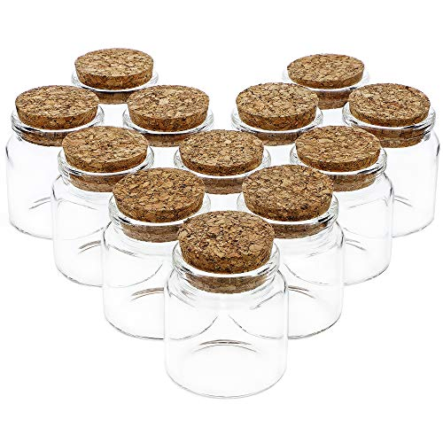 Bright Creations Small Glass Cork Bottles 12 Pack - 50ml
