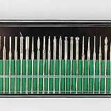 KEWAYO 30Pcs Case Set Diamond Burr Bits Drill, Glass Gemstone Metal with 2.35mm Bur Shank for Jewelry,Glass,Stone,Ceramic,Gemstones Lapidary