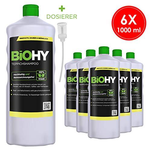 BIOHY tapijtshampoo concentraat 6 x 1 liter flessen + doseerder, tapijtreiniger ideaal voor het verwijderen van hardnekkige vlekken, speciaal voor waszuigers ontwikkel