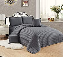 Compressed Two-Sided Color 6 Pieces Comforter Set, King Size - St-010, Dark Gray